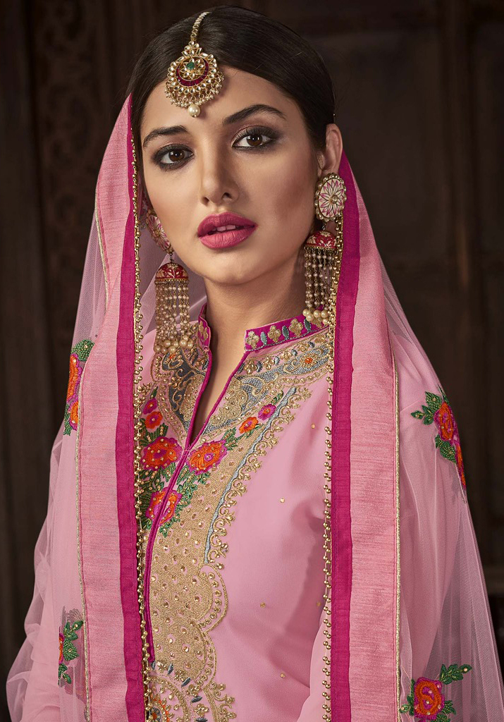 Appealing Pink Designer Embroidered Georgette Palazzo Suit
