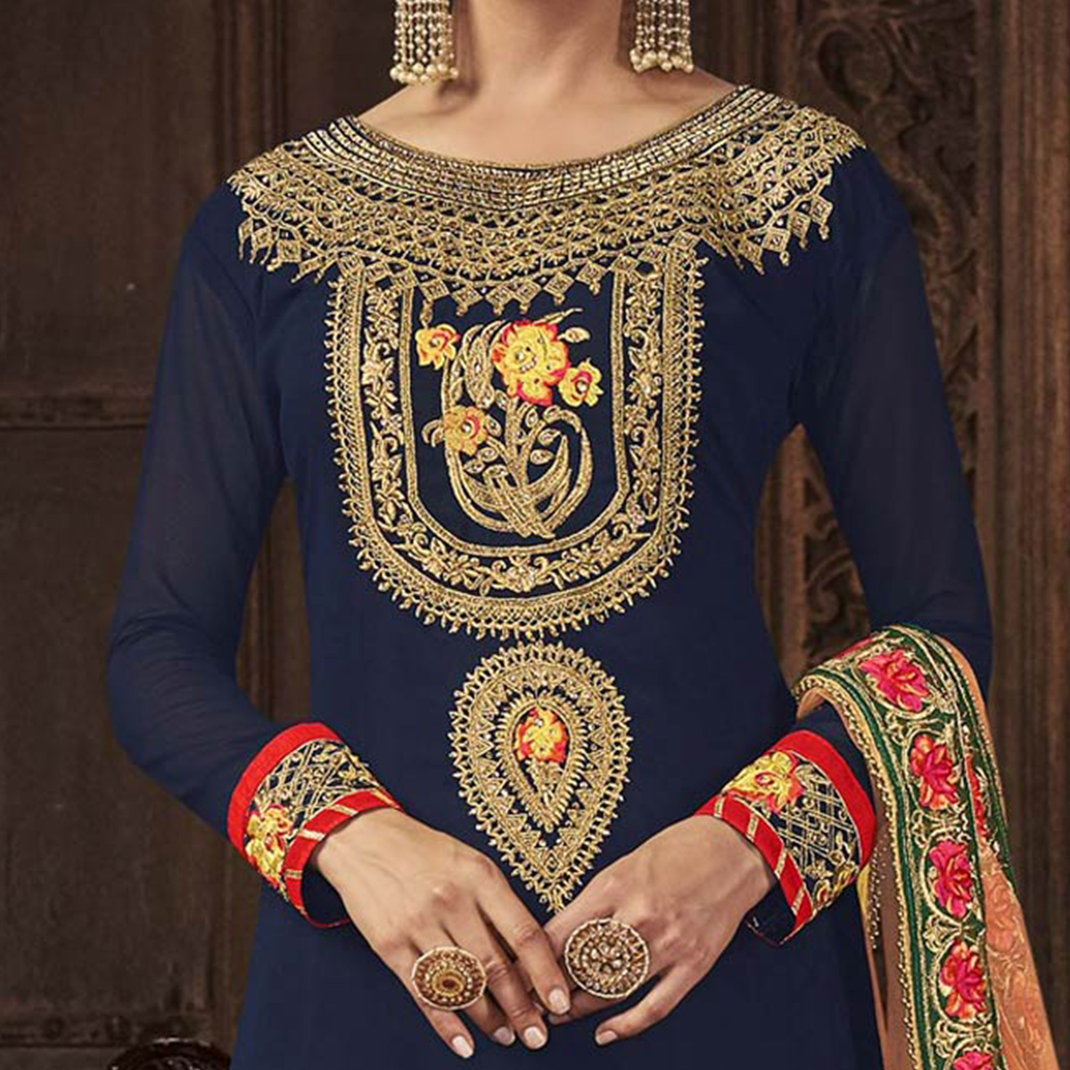 Classy Blue - Peach Designer Embroidered Georgette Palazzo Suit