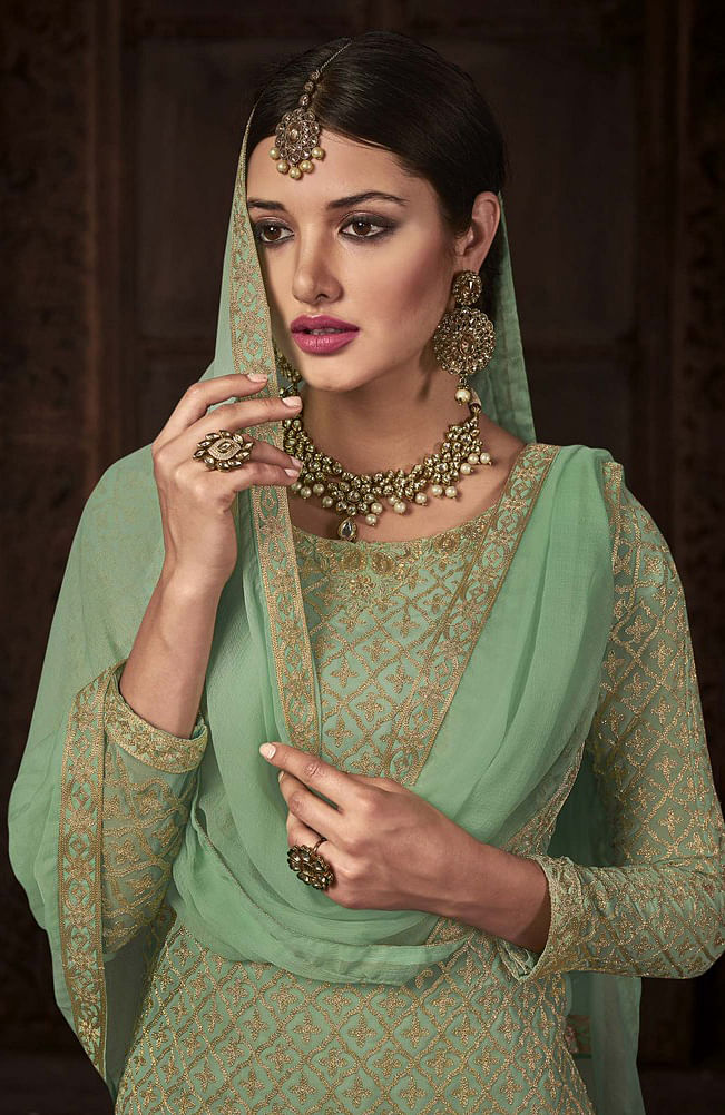 Amazing Pista Green - Grey Designer Embroidered Georgette Palazzo Suit