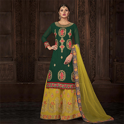 Graceful Green - Yellow Designer Embroidered Georgette Palazzo Suit