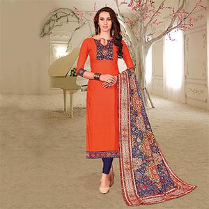 Ethnic Orange Colored Printed Partywear Cotton Dress Material