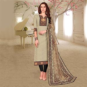 Classy Beige Colored Printed Partywear Cotton Dress Material