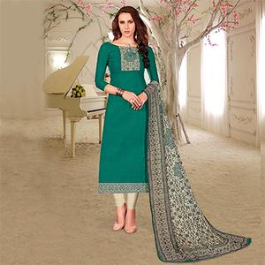 Attractive Green Colored Printed Partywear Cotton Dress Material