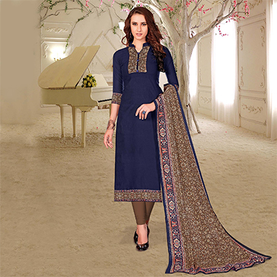 Stunning Blue Colored Printed Partywear Cotton Dress Material