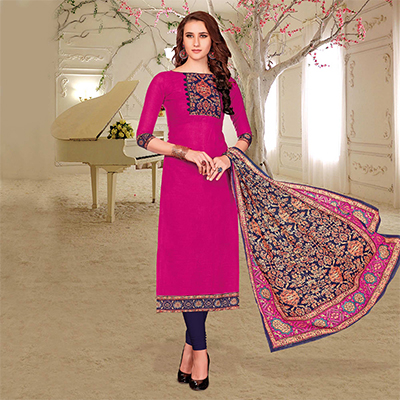 Bright Pink Colored Printed Partywear Cotton Dress Material