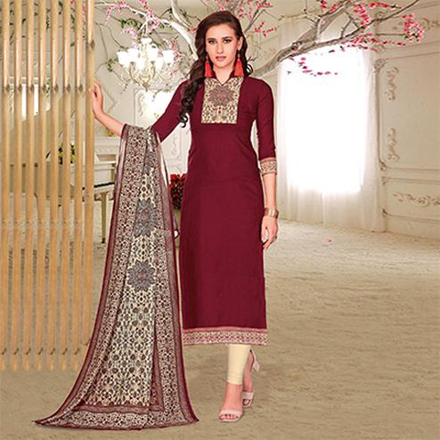 Elegant Maroon Colored Printed Partywear Cotton Dress Material