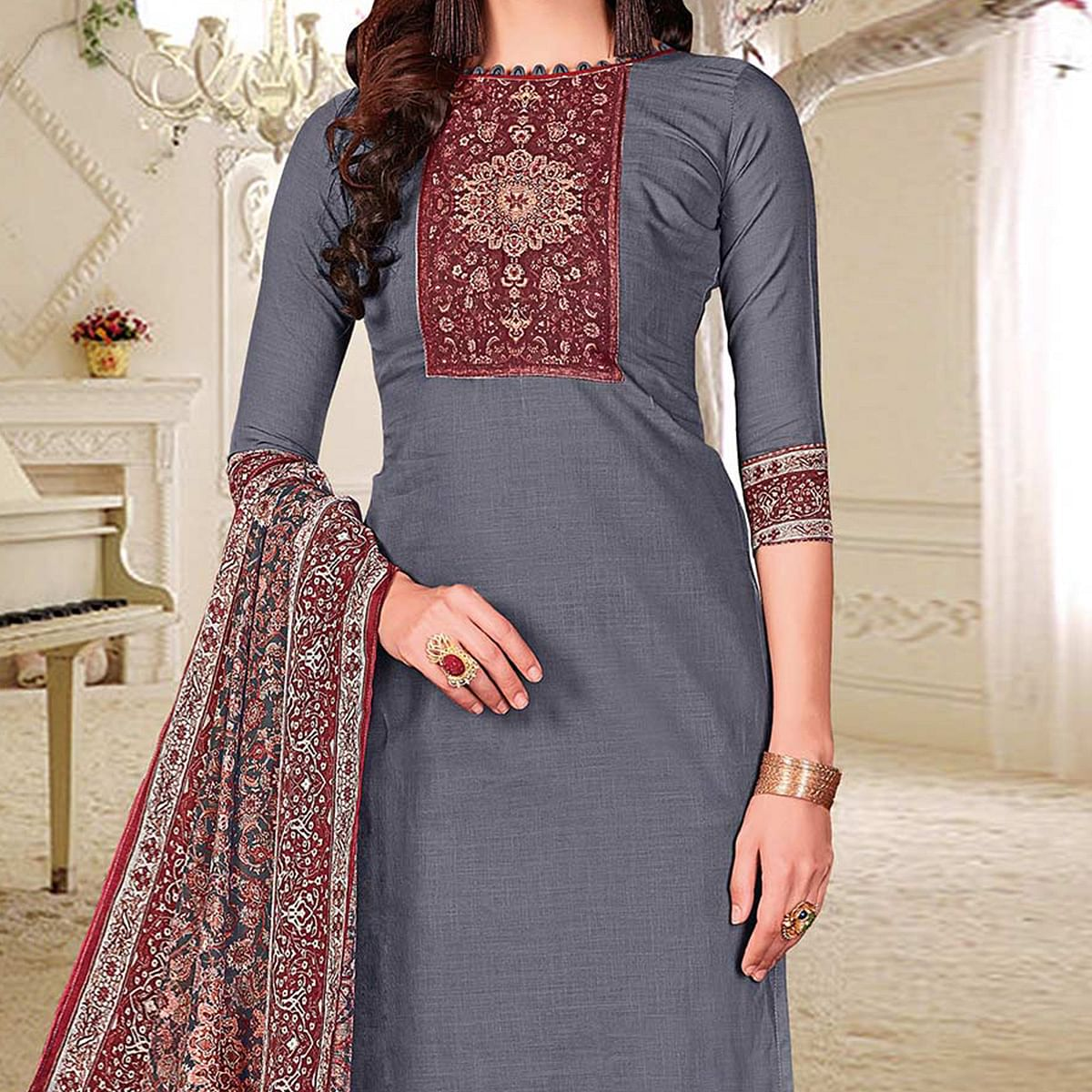 Smart Grey Colored Printed Partywear Cotton Dress Material