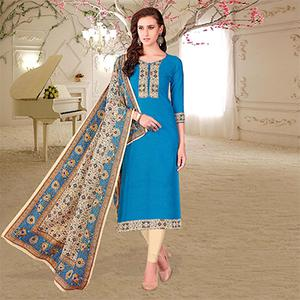 Sky Blue Colored Printed Partywear Cotton Dress Material
