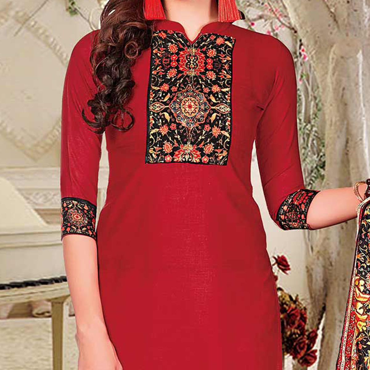 Hot Red Colored Printed Partywear Cotton Dress Material