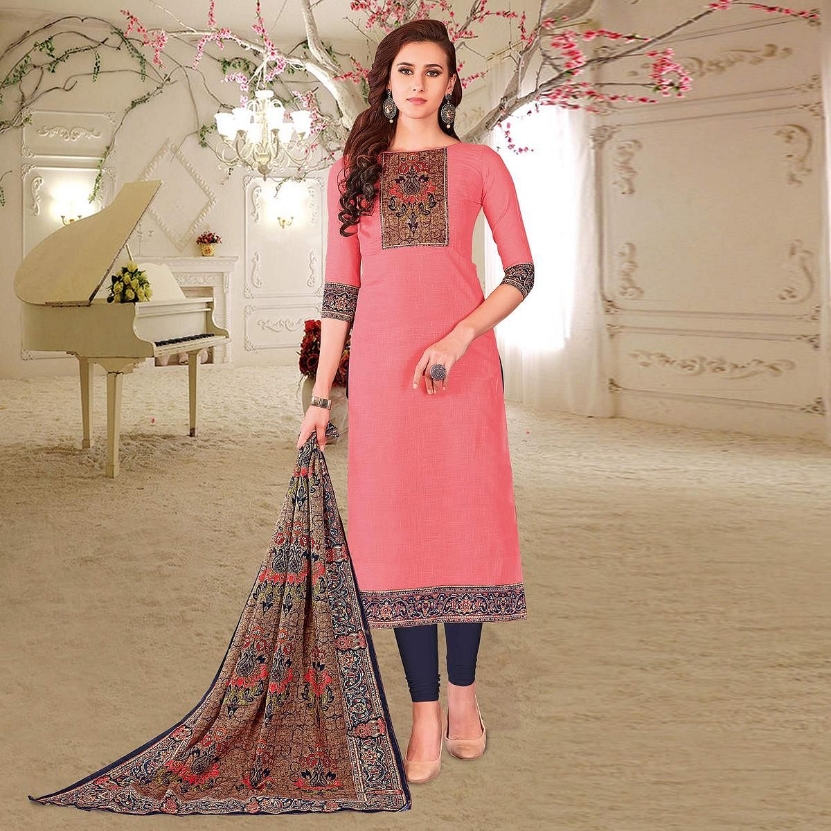 Mesmerising Peach Colored Printed Partywear Cotton Dress Material