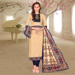 Simple Beige Colored Printed Partywear Cotton Dress Material