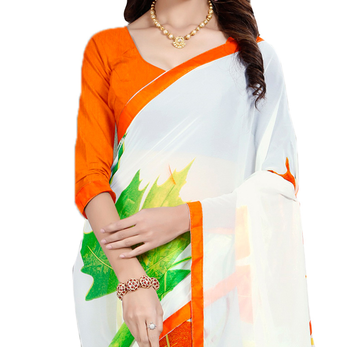 White Leaf Print Georgette Saree