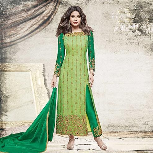 Amazing Light green Partywear Designer Embroidered Net Suit