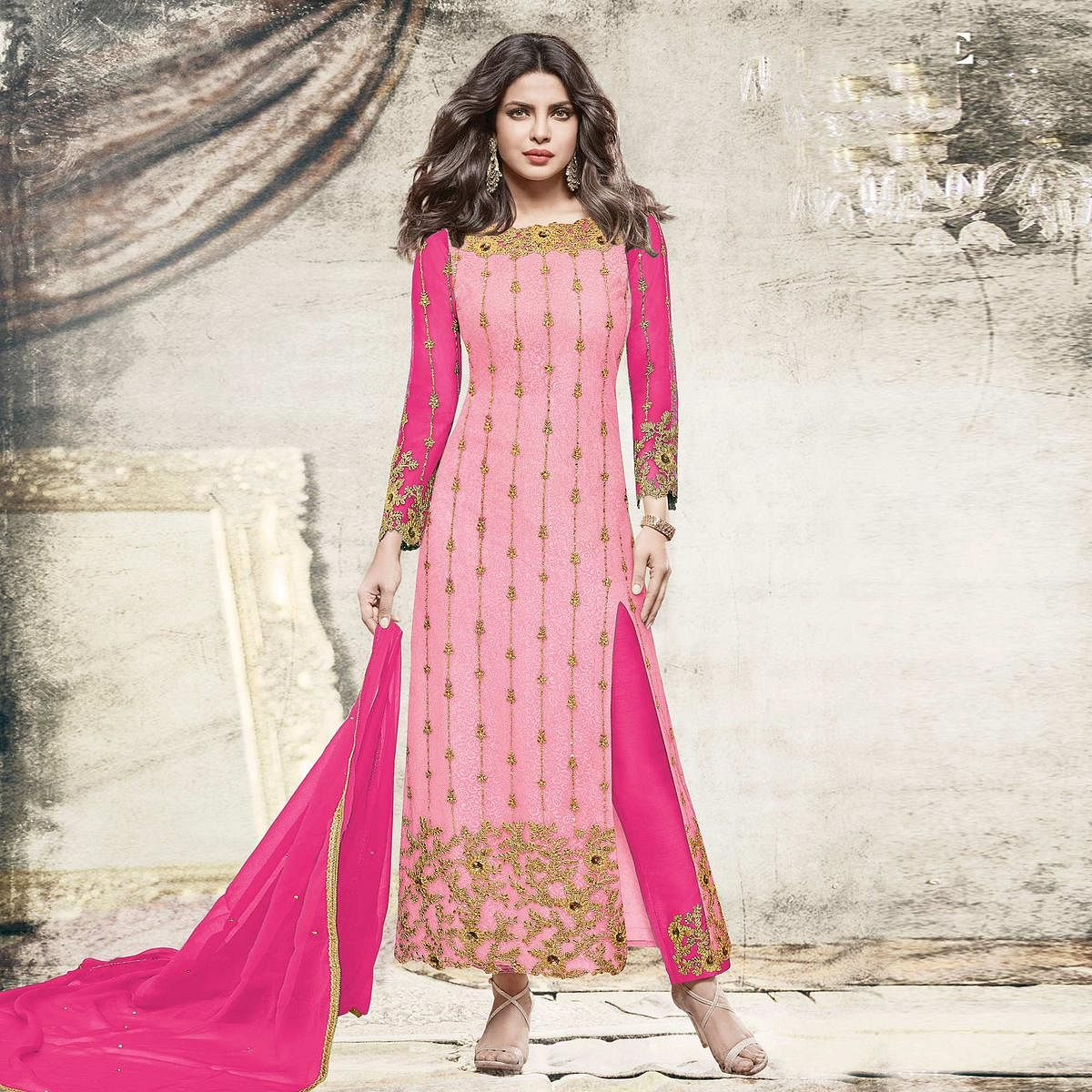 057b2edc34b Buy Classy Light pink Partywear Designer Embroidered Net Suit for womens  online India