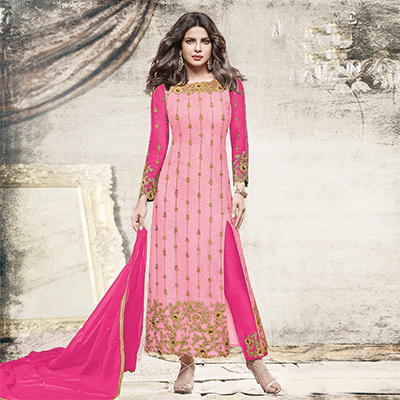 Classy Light pink Partywear Designer Embroidered Net Suit