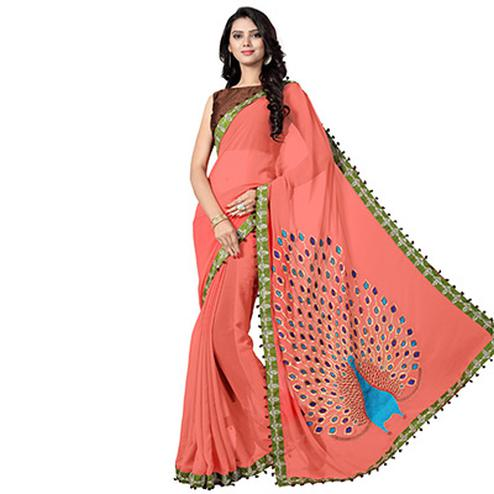 Peach Embroidered Georgette Saree