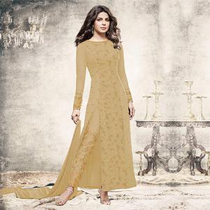 Beautiful Beige Partywear Designer Embroidered Georgette Suit