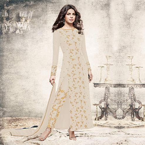 Eye-catching White Partywear Designer Embroidered Georgette Suit
