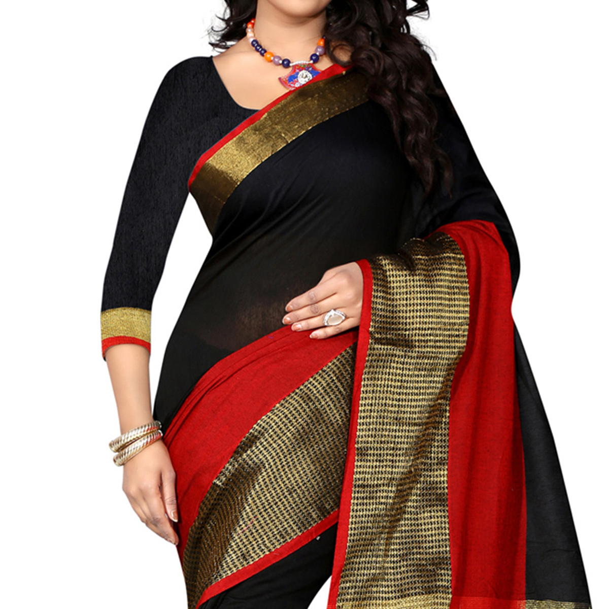 Black - Red Cotton Traditional Saree
