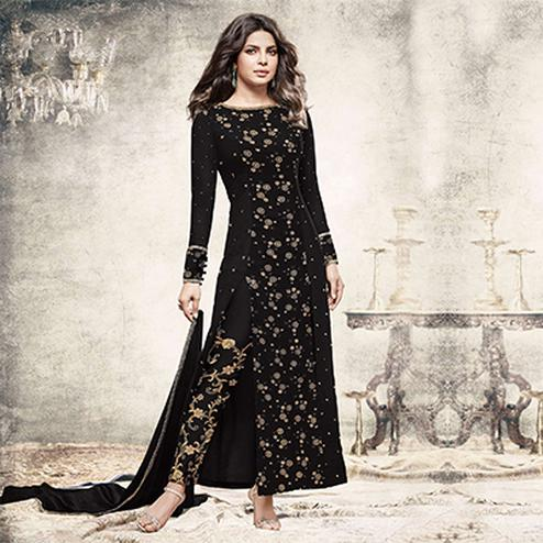 Appealing Black Partywear Designer Embroidered Georgette Suit