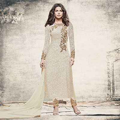 Ravishing Off white Partywear Designer Embroidered Brasso Suit