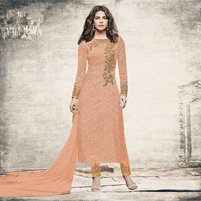 Intricate Peach Partywear Designer Embroidered Brasso Suit