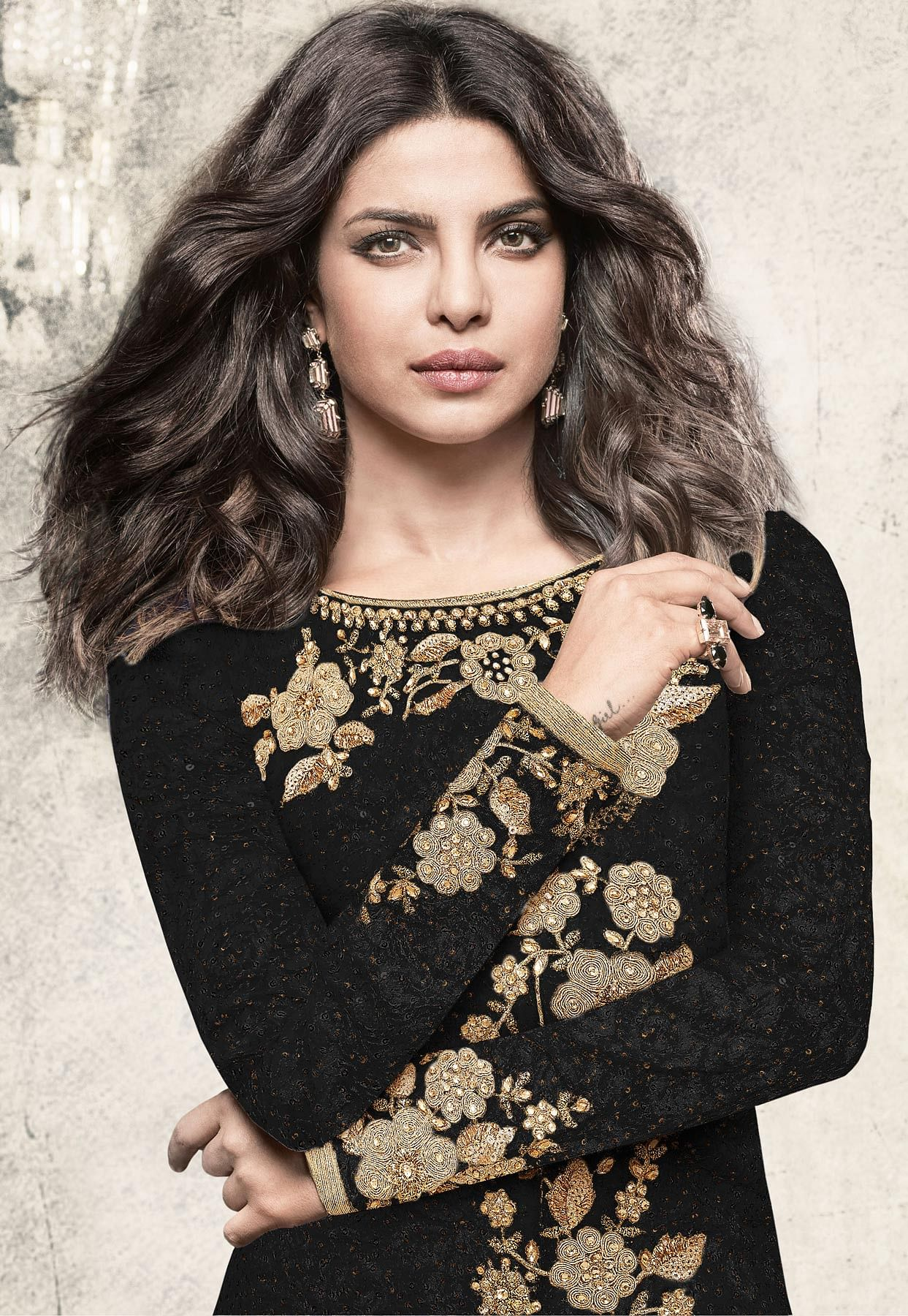 Elegant Black Partywear Designer Embroidered Brasso Suit