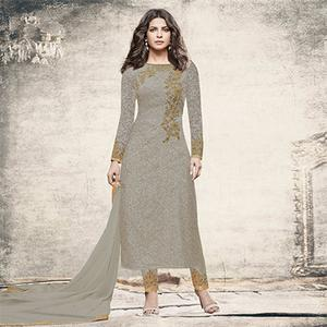 Desirable Grey Partywear Designer Embroidered Brasso Suit