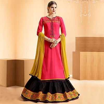 Pink - Black Colored Embroidered Cotton Lehenga Kameez