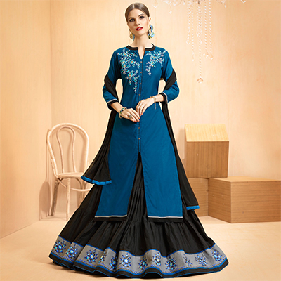 Blue - Black Colored Embroidered Cotton Lehenga Kameez