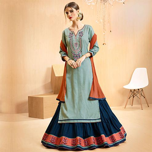 Grey - Blue Colored Embroidered Cotton Lehenga Kameez