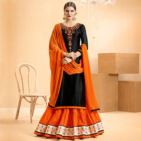 Black - Orange Colored Embroidered Cotton Lehenga Kameez