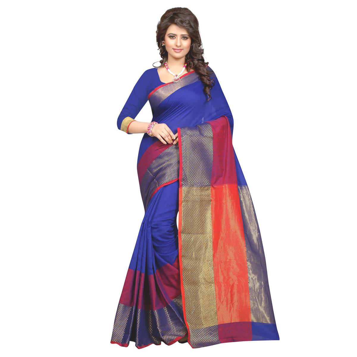 Blue - Red Cotton Traditional Saree