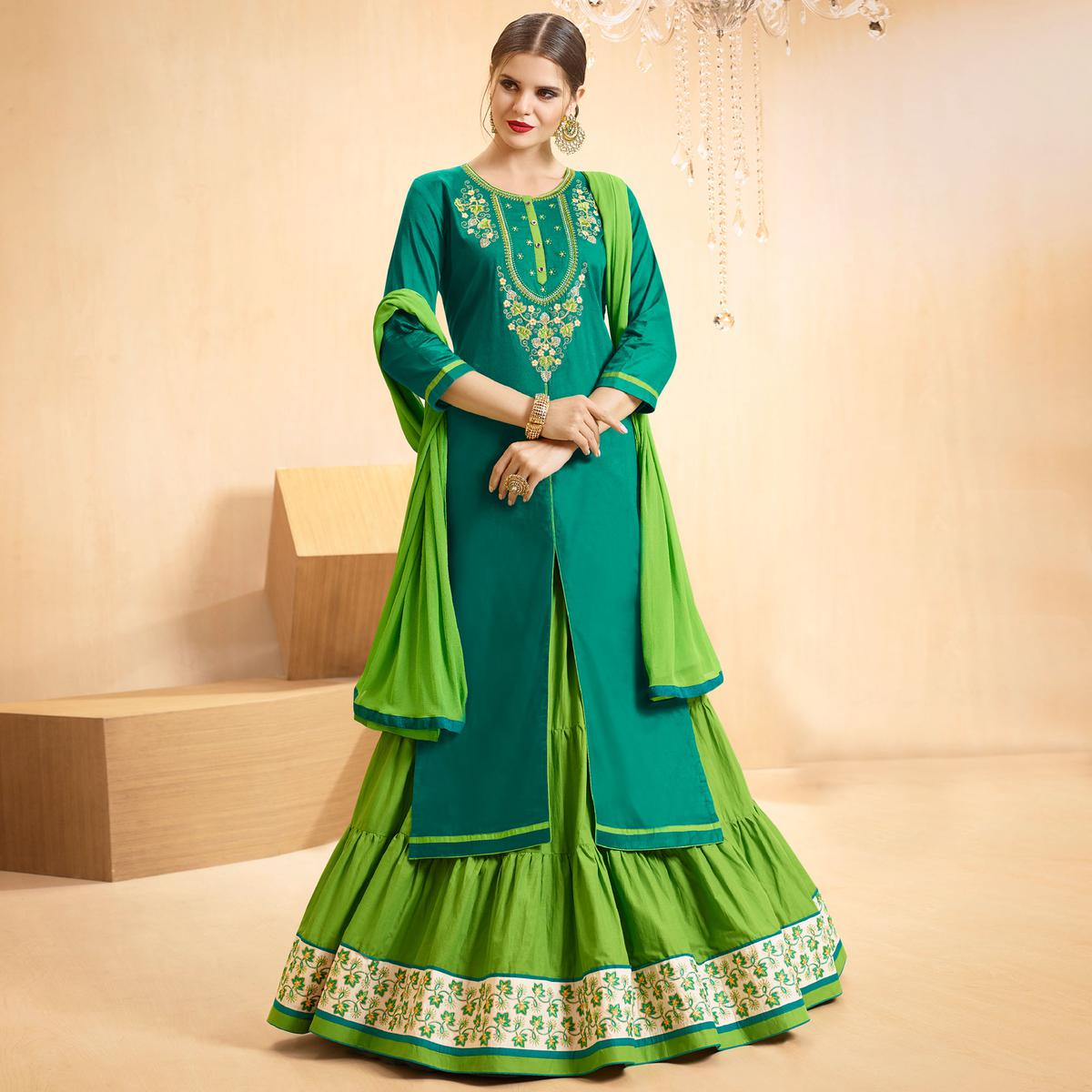 Teal Blue - Green Colored Embroidered Cotton Lehenga Kameez