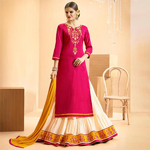 Pink - Offwhite Colored Embroidered Cotton Lehenga Kameez