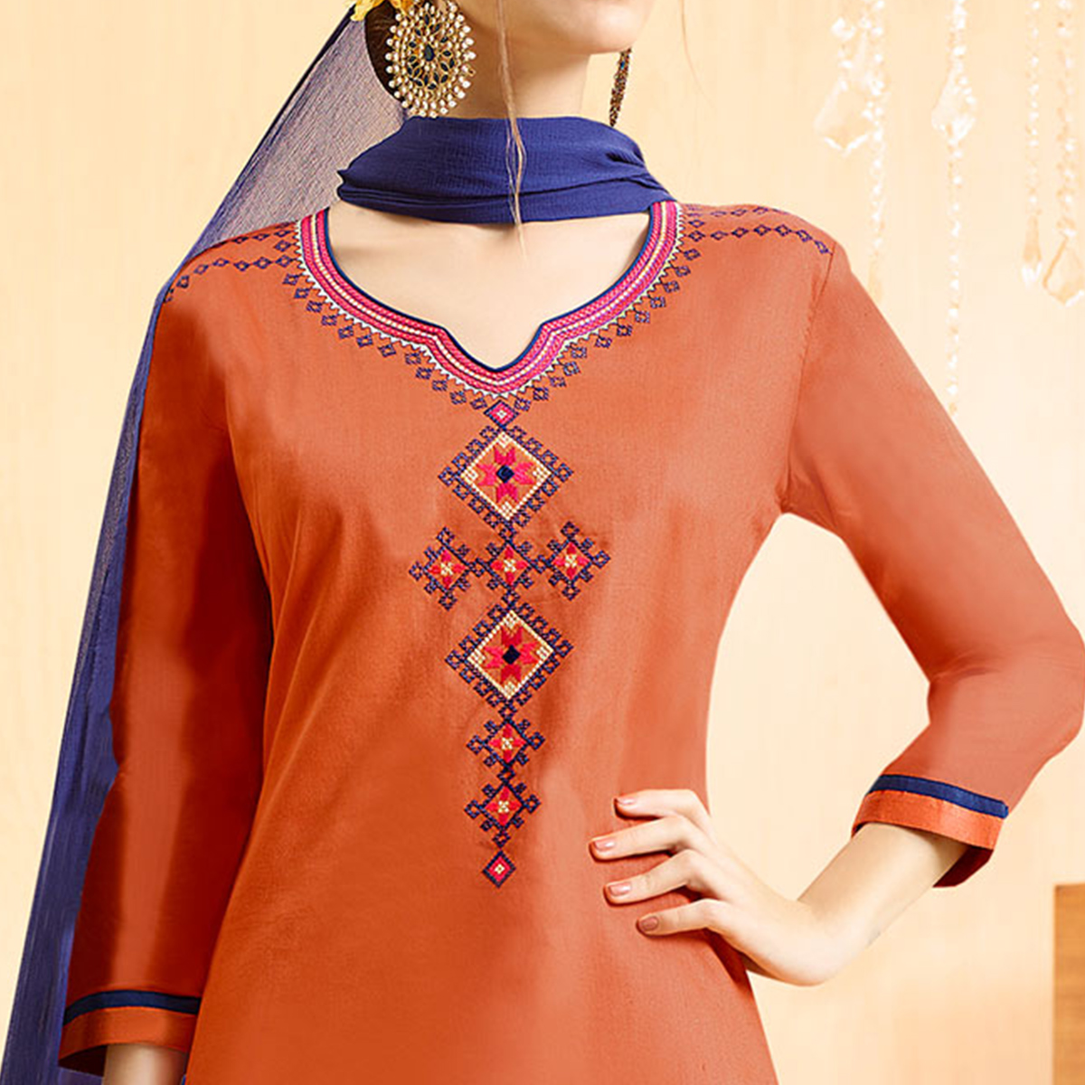Peach - Pink Colored Embroidered Cotton Lehenga Kameez