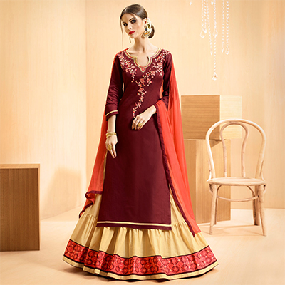 Maroon - Beige Colored Embroidered Cotton Lehenga Kameez