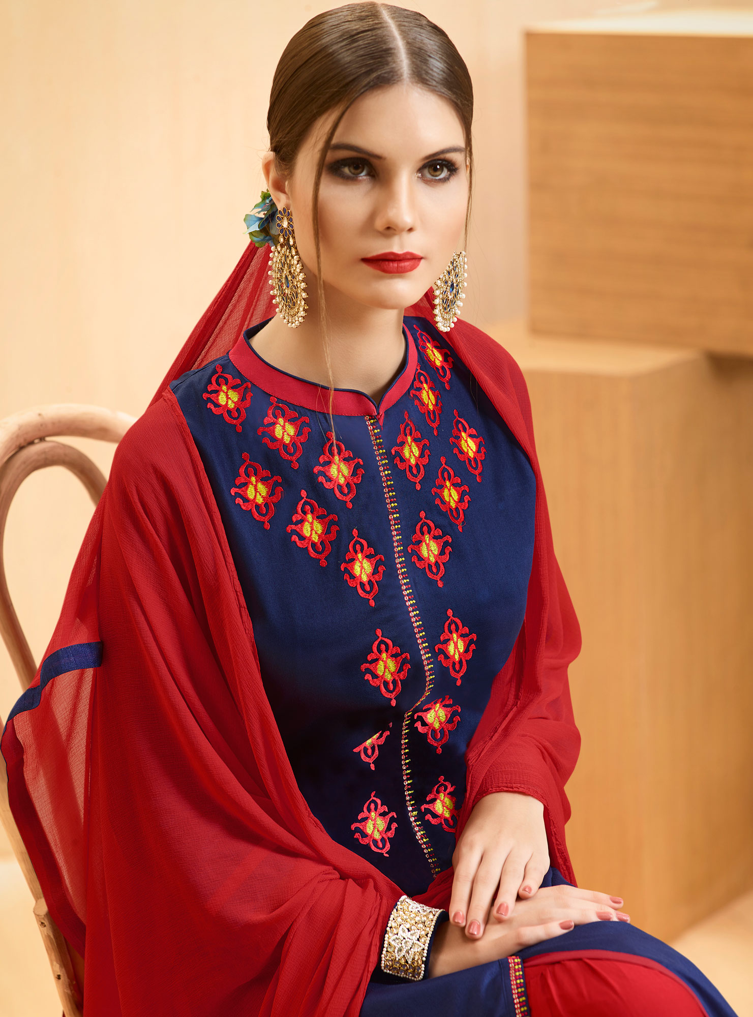Blue - Red Colored Embroidered Cotton Lehenga Kameez