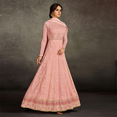 Ravishing Pink Colored Party Wear Embroidered Georgette Anarkali Suit
