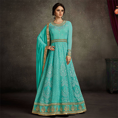 Delightful Sky blue Colored Party Wear Embroidered Georgette Anarkali Suit