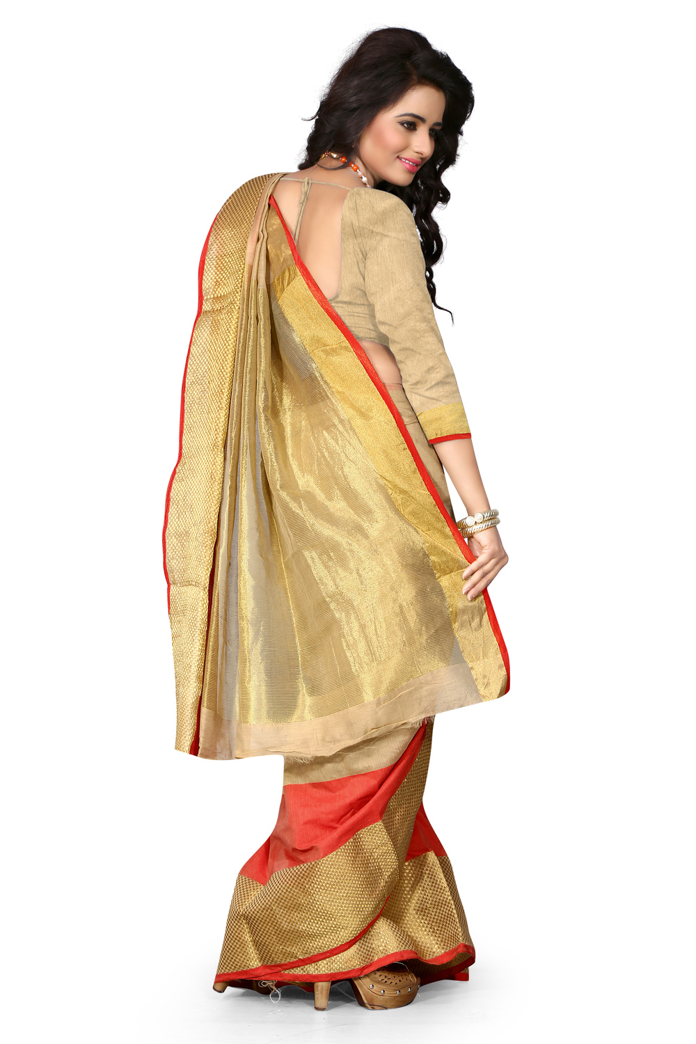 Beige - Red Cotton Traditional Saree