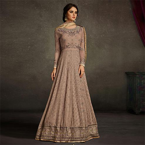 Blooming Beige Colored Party Wear Embroidered Georgette Anarkali Suit