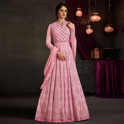 Marvellous Baby Pink Colored Party Wear Embroidered Georgette Anarkali Suit