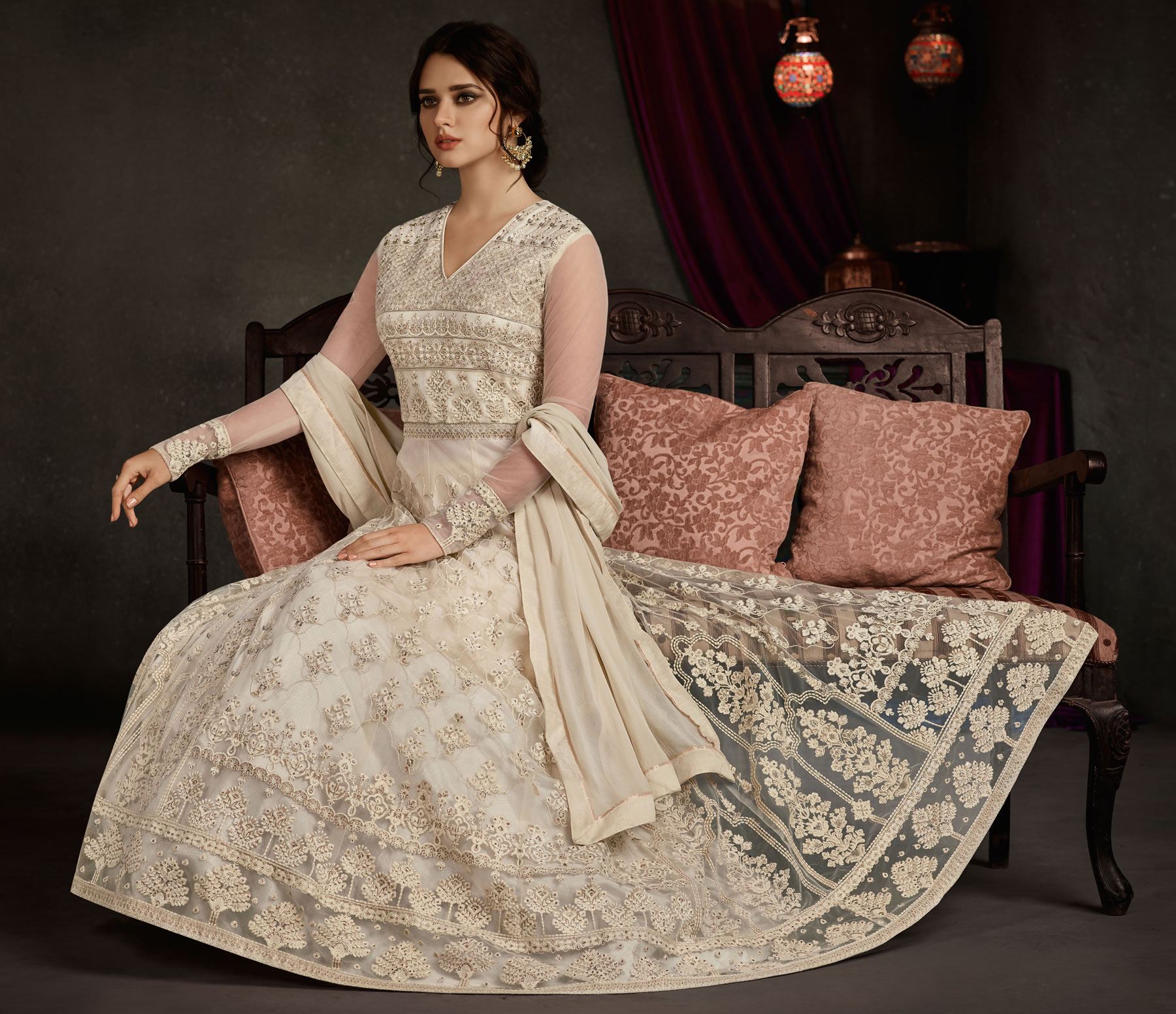 Amazing White Colored Party Wear Embroidered Georgette Anarkali Suit