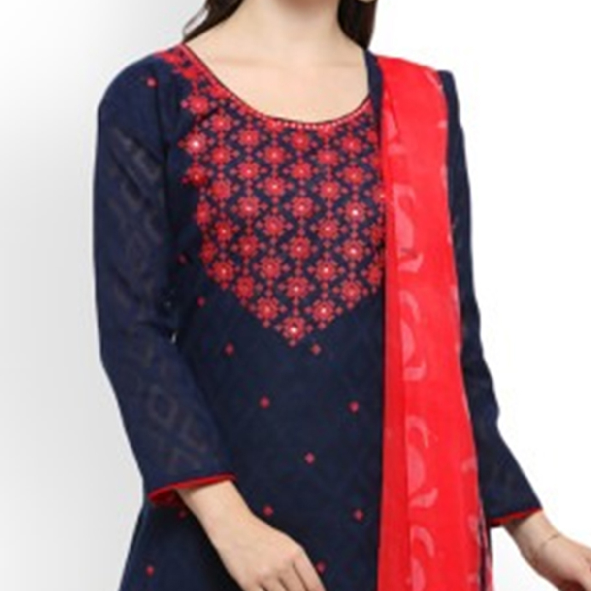 Graceful Navy Blue-Red Colored Embroidered Cotton Jacquard Dress Material