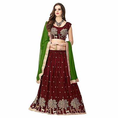 Gorgeous Maroon Colored Designer Embroidered Banglori Silk Lehenga Choli