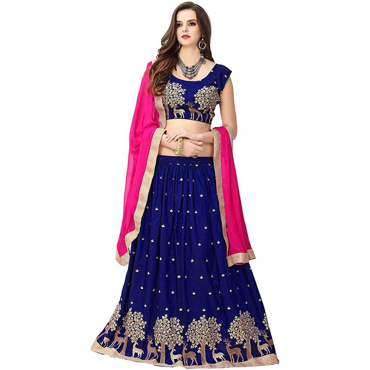 Ravishing Blue Colored Designer Embroidered Banglori Silk Lehenga Choli