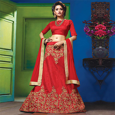 Gorgeous Red Colored Designer Embroidered Raw Silk Lehenga Choli