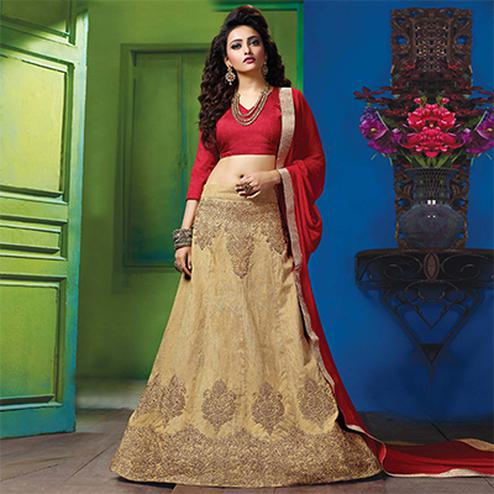 Ravishing Red-Beige Colored Designer Embroidered Raw Silk Lehenga Choli
