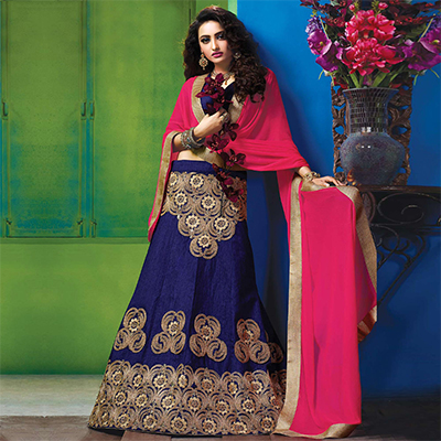 Blooming Blue Colored Designer Embroidered Raw Silk Lehenga Choli
